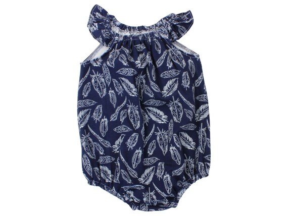 Navy Feather Baby Romper Toddler Romper Modern Romper Flutter Sleeve Romper Navy Blue Feather Romper