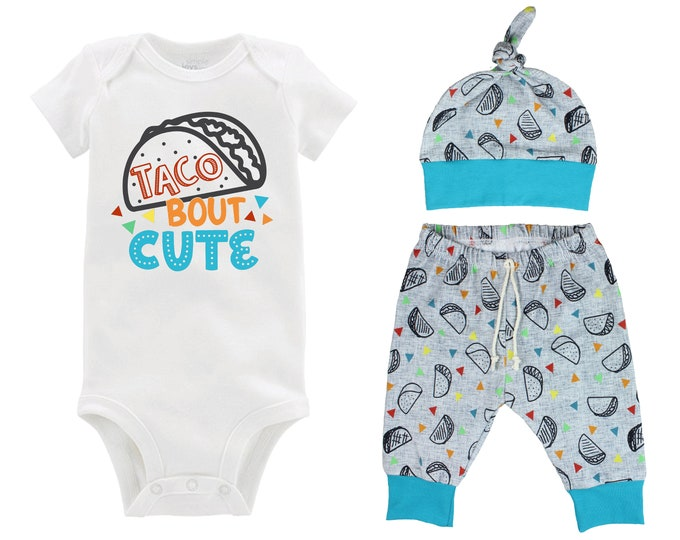 Boy Taco Onesie Outfit Taco Bout Cute Baby Onesie Taco Fiesta Nachos Top Knot Hat Shirt Boy Taco Tuesday Party Unisex Pants Knot Hat