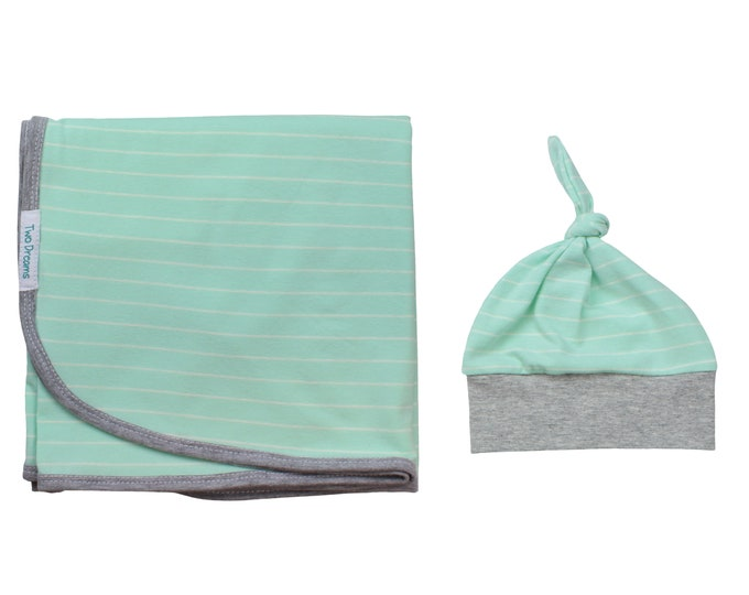 Boy Newborn Swaddle Set Mint Grey Striped Blanket Mint and Gray Top Knot Hat Jersey Knit Infant Gift Set Baby Shower Striped Swaddle