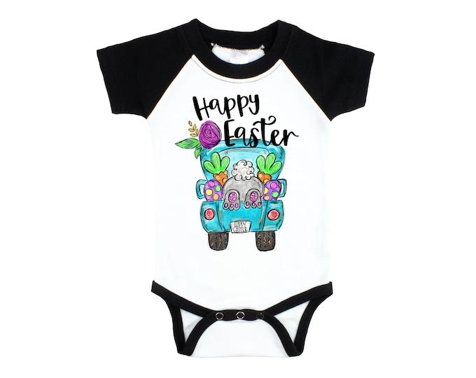 Girl Happy Easter Raglan Bodysuit Blue Floral Teal Truck Bunny Shirt Easter Girl Baby Personalized Long or Short Sleeve Black Bodysuit