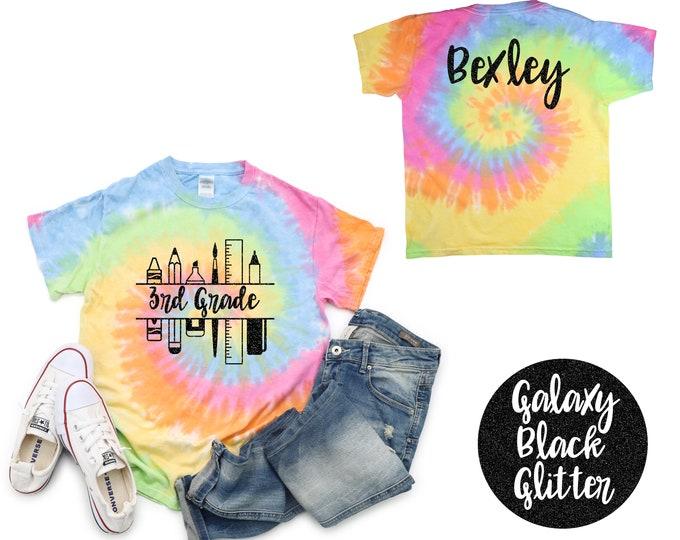 3rd Grade Girl Personalized Pastel Neon Minty Tie Dye Shirt Galaxy Bright Black Glitter Vinyl White Rainbow Girl Back To School Shirt