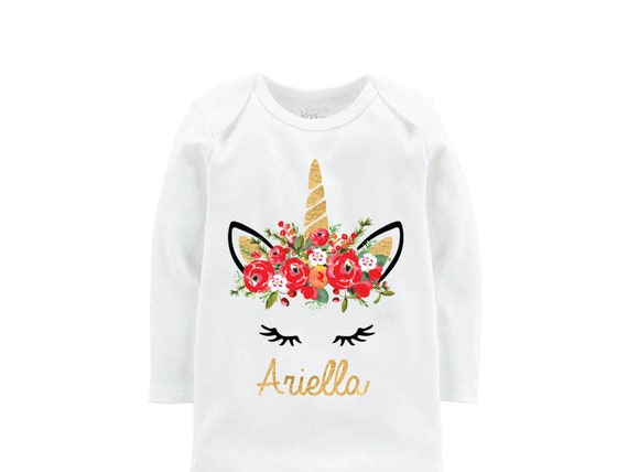 Watercolor Christmas Unicorn Shirt Personalized Red Ruffle Raglan Bodysuit Onesie Gold Christmas Floral Holiday Unicorn Holly Berries