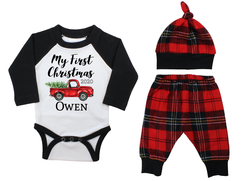 1st Christmas Plaid Bow tie Newborn Boy. Baby Boy Christmas Truck Outfit Preppy 1st Christmas Red Truck Cardigan Set with Pants