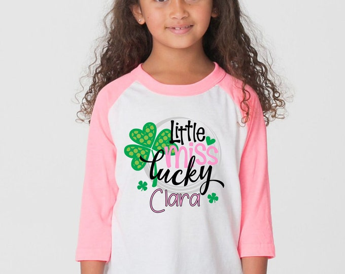 Little Miss Lucky Girl St. Patrick's Day Shirt Personalized Name Shirt St. Patty's Day Clover Raglan Bodysuit Kid Baby Toddler Pink Green