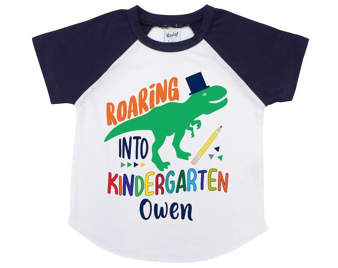 Roaring Into Kindergarten Personalized Boy Back to School Shirt T-Rex Dinosaur Back to School Shirt Pencil Shirt Name Shirt Raglan Boyish