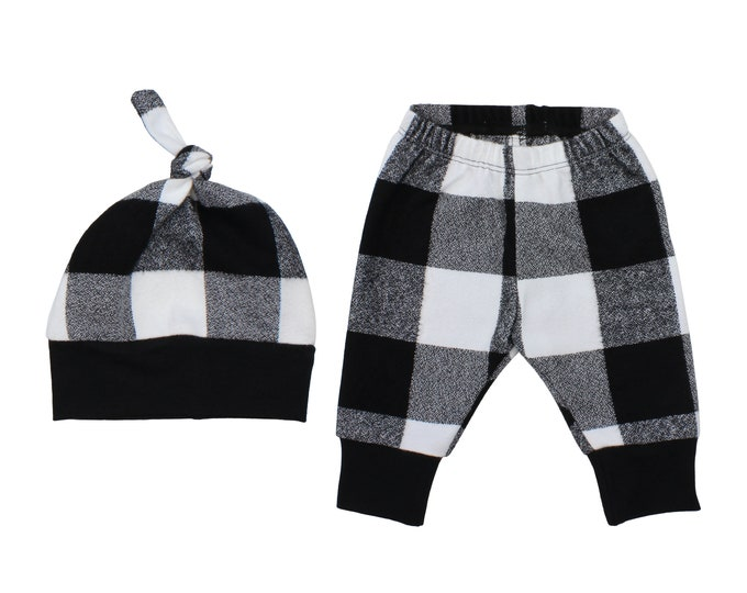 White and Black Buffalo Plaid Flannel Pants Boy Toddler Pants Fall Winter Pants Baby Buffalo Check Plaid Baby Fall Baby Pants Halloween