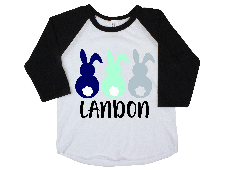 3f4feea7165 Boy Easter Bunny Raglan Personalized Cotton Tail Bunnies Gray Blue ...