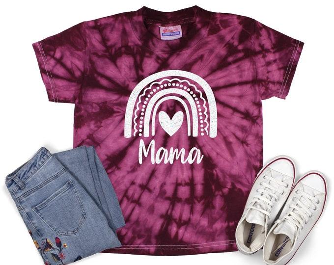 Mama Rainbow Tie Dye Shirt Mama and Mini Matching Birthday Girl Minty Pastel Neon Rainbow Adult Sizes Youth Toddler T-Shirt Tie Dye Sizes