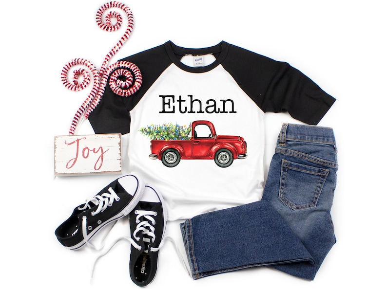 Boy Christmas Shirt Red Truck Christmas Lights Tree Personalized Raglan Old Red Truck Name Shirt Boy Toddler Baby Youth Shirt Red Black