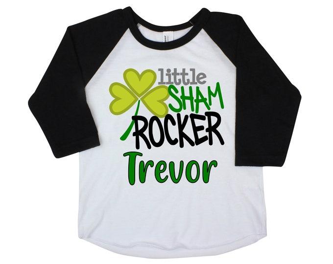 Little Sham Rocker Boy St. Patricks Day Shirt Raglan St. Patty's Day Clover Lucky Green Truck Shirt Toddler Kids Baby Raglan Bodysuit Boy