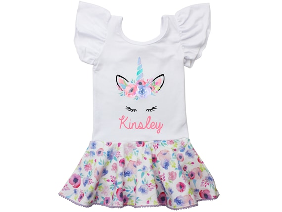 Unicorn Face Leotard Personalized Watercolor Floral Skirt Leotard with Snaps Twirl Flutter Sleeve Bow Back Ballet Birthday Watercolor