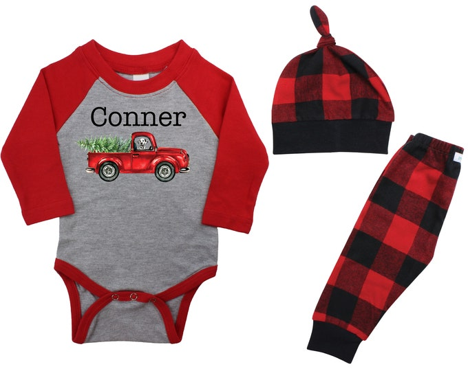 Boy Christmas Red Truck Dog Black Raglan Outfit Personalized Vintage Christmas Tree Bodysuit Flannel Pants Winter Red Black Buffalo Plaid