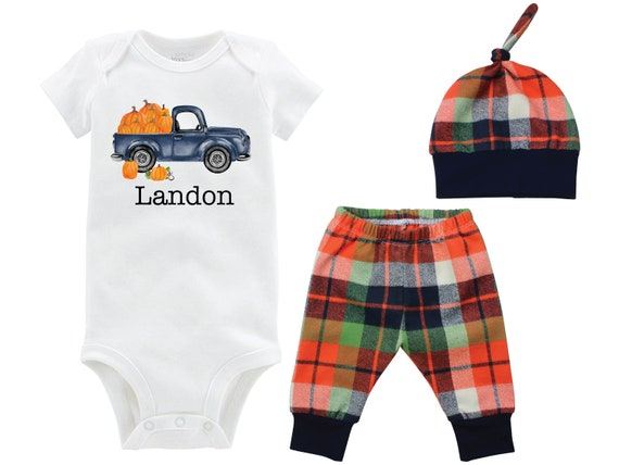 Fall Boy Pumpkin Truck Shirt Outfit Onesie Bodysuit Fall Personalized Pumpkin Outfit Fall Plaid Pants Leggings Baby Gift Top Knot Hat Boy