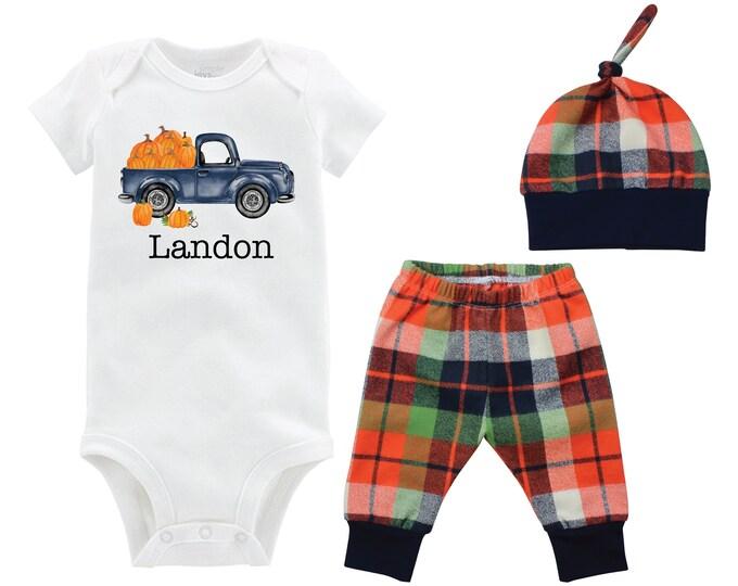 Fall Boy Pumpkin Truck Shirt Outfit Bodysuit Fall Personalized Pumpkin Outfit Fall Plaid Pants Leggings Baby Gift Top Knot Hat Boy