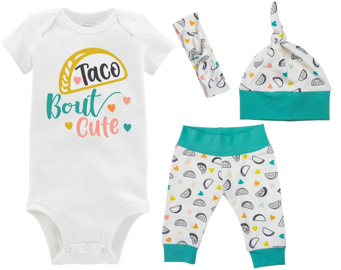 Taco Bout Cute Baby Outfit Going Home Outfit Yoga Leggings Knot Hat Headband New Baby Infant Outfit Taco Tuesday Girly Taco Outfit