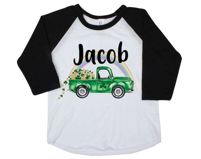 St. Patricks Day Shamrock Truck Boy St. Patty's Day Rainbow Clover Lucky Green Truck Shirt Toddler Kids Baby Raglan Bodysuit Boy