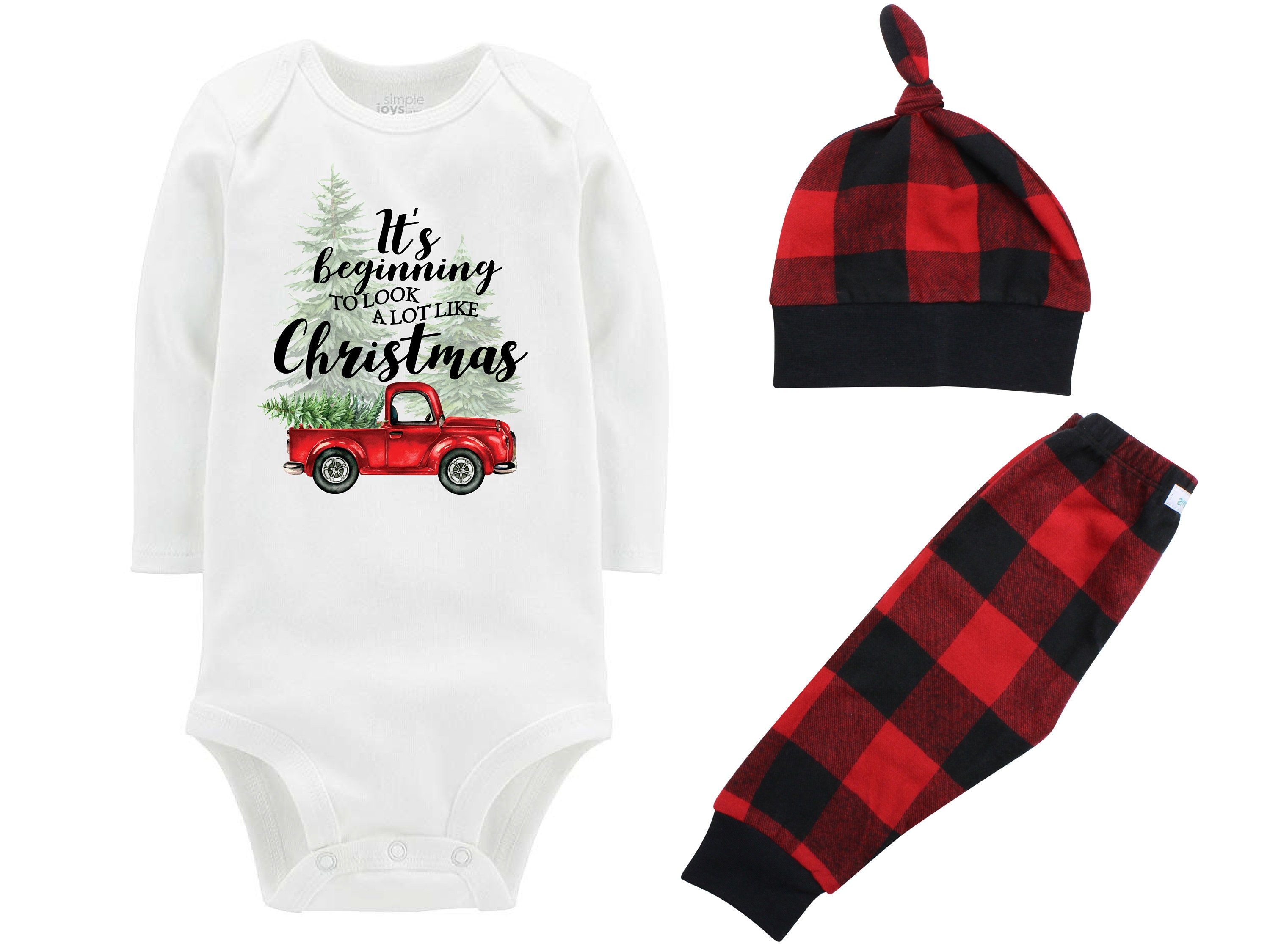 912a76436 ... Pants Winter Baby Outfit Boy Red Black Buffalo Plaid It's Beginning to  Look a lot Like Christmas. gallery photo ...