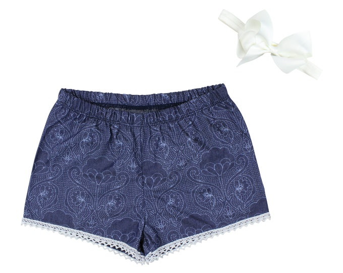 Girls Denim Shorts Baby Shorts Lace Trimmed Shorts Baby Bow Denim Lace Ribbon Pattern Print Child American Made Handmade Girl Baby Clothing