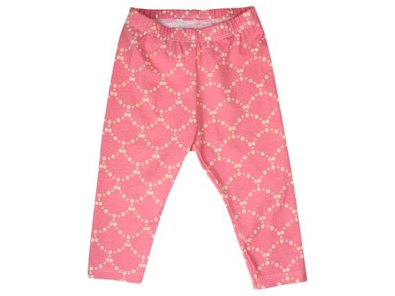 Rose Pink Ripple Baby Leggings Pink Toddler Leggings Girly Leggings Cream and Pink Leggings Girl Baby Pants Baby Gift Cream and Rose Pink