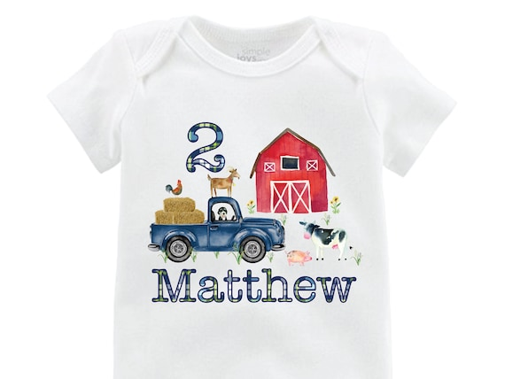 Boy Birthday Farm Shirt Red Barn Old Truck Personalized Boy Birthday Shirt Onesie Bodysuit Boy Red Barn Cow Pig Chicken Shirt