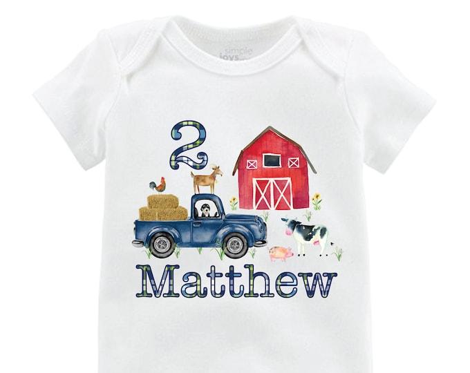 Boy Birthday Farm Shirt Red Barn Old Truck Personalized Boy Birthday Shirt Bodysuit Boy Red Barn Cow Pig Chicken Shirt
