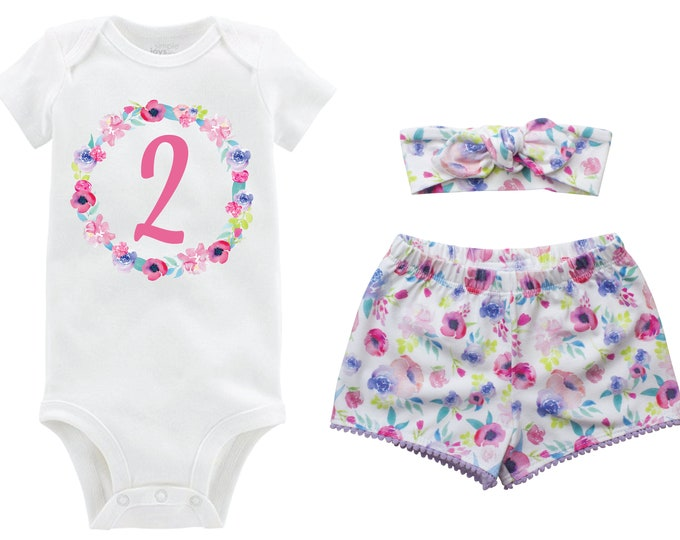 Second Birthday Pink Watercolor Pastel Outfit Shorts Headband Watercolor Floral Birthday Monogram Summer Shorts Pom Pom Shorts Outfit