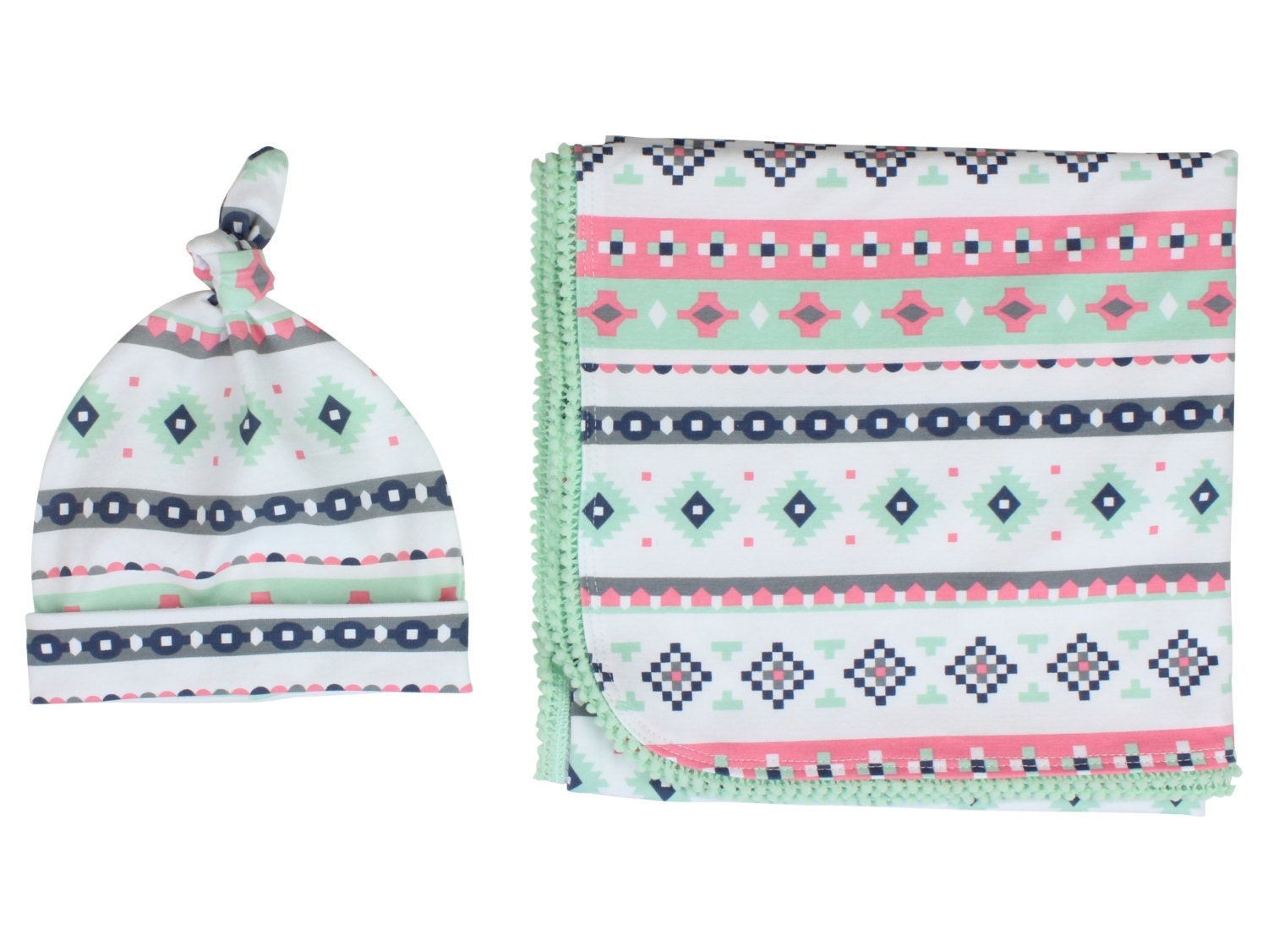 6faf43674bb Mint Pink Tribal Newborn Swaddle Set Swaddle Blanket Top Knot Hat Knot  Headband Feather Pom Pom Blanket Jersey Swaddle Baby Blanket Aztec. gallery  photo ...