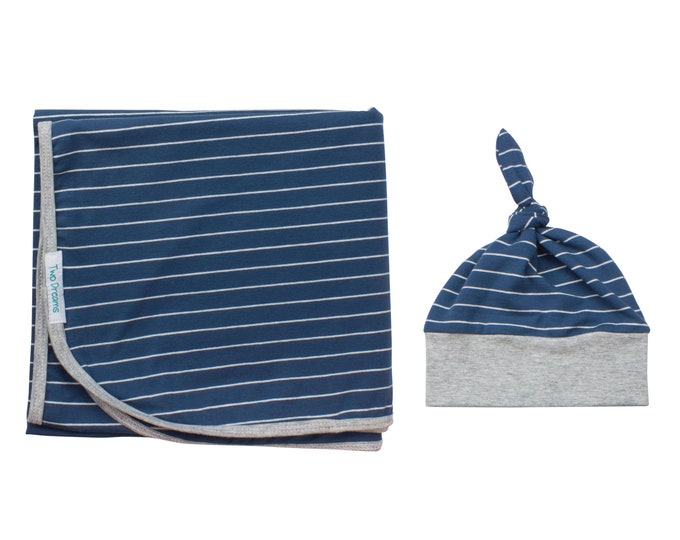 Boy Newborn Swaddle Set Blue Striped Blanket Navy Blue and Gray Top Knot Hat Jersey Knit Infant Gift Set Baby Shower Striped Swaddle