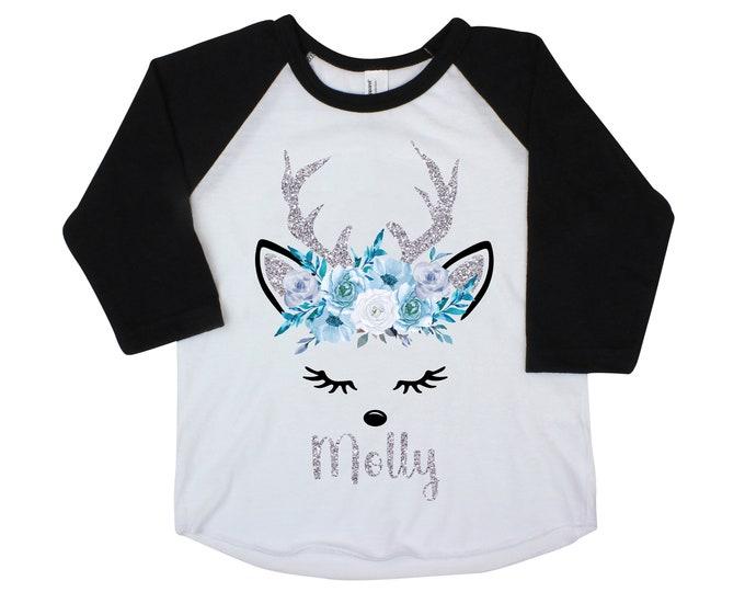 Girl Reindeer Shirt Winter Reindeer Silver Personalized Raglan Bodysuit Silver Blue Floral Reindeer Face Winter Deer