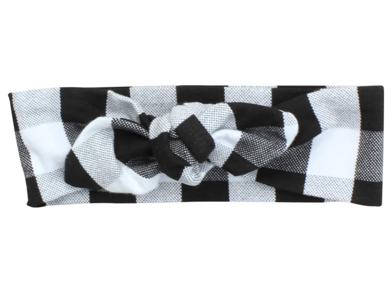 Black White Buffalo Plaid Baby Top Knot Headband Adult Knot Headband