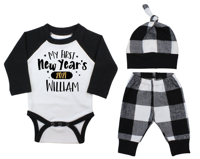 My First New Year's 2022 Personalized Black Raglan Outfit Baby Unisex Happy New Year Gold Sparkle Boy White Black Gray Plaid Flannel Pants