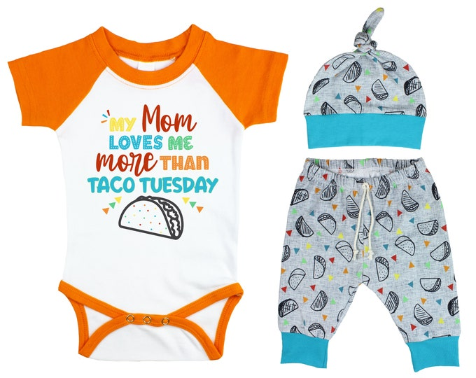 Boy Taco Raglan Outfit My Mom Loves Me More Than Taco Tuesday Baby Onesie Top Knot Hat Shirt Boy Taco Tuesday Party Unisex Pants Knot Hat