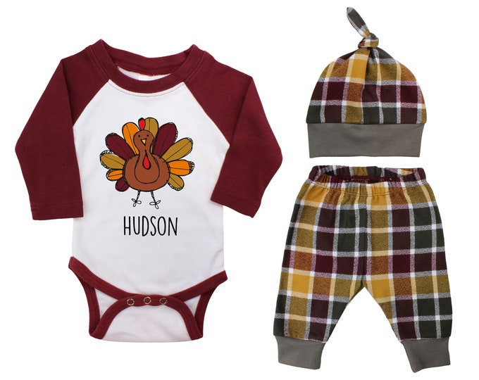 My First Thanksgiving Scribble Turkey Personalized Outfit Fall Baby Raglan Outfit Fall Plaid Pants Pumpkins Old Truck Maroon Gray Raglan