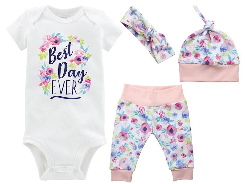 Best Day Ever Onesie Girl Going Home Set Onesie Newborn Coming Home Watercolor Floral Yoga Leggings Top Knot Hat Headband Infertility Onesie