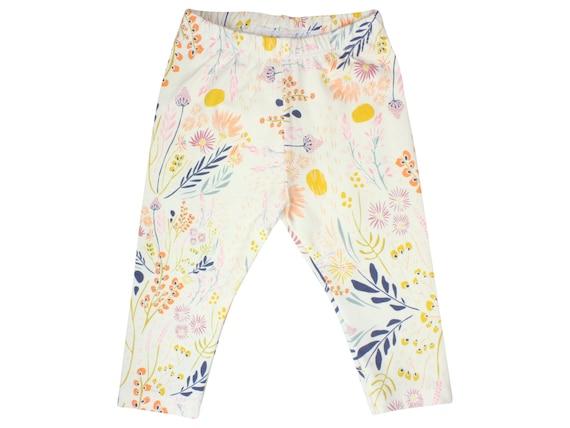 Wild Flower Baby Leggings FlowerToddler Leggings Girl Leggings Floral Leggings Girl Baby Pants Floral Baby Headband Floral Baby Gift Cream