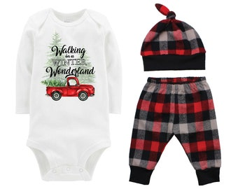 Christmas Tree Truck Bodysuit Buffalo Plaid Pants Winter Baby Outfit Boy Red Black Buffalo Plaid Walking in a Winter Wonderland Song Shirt