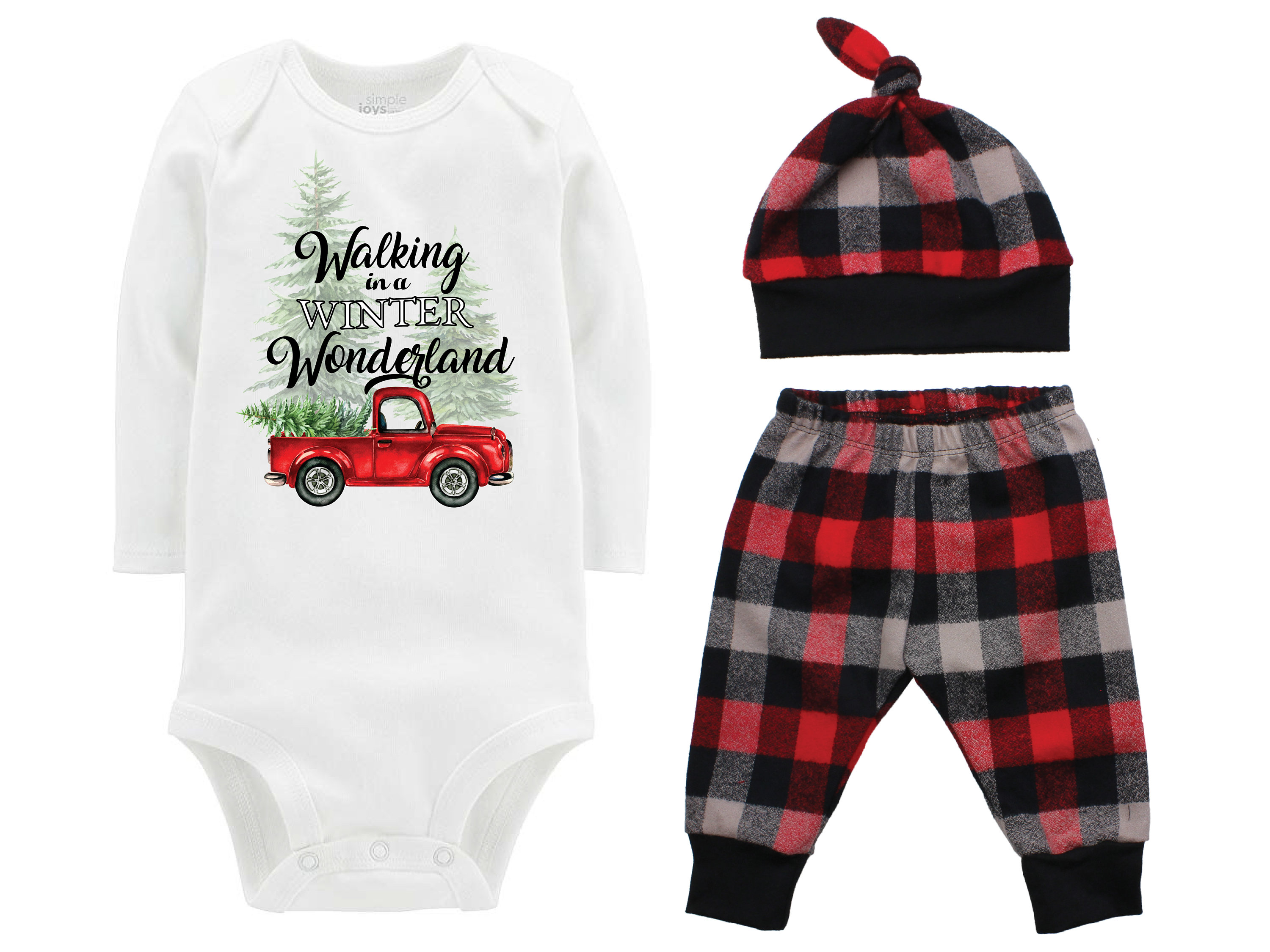 46f7d3533 Christmas Tree Truck Bodysuit Buffalo Plaid Pants Winter Baby Outfit Boy Red  Black Buffalo Plaid Walking in a Winter Wonderland Song Shirt. gallery  photo ...