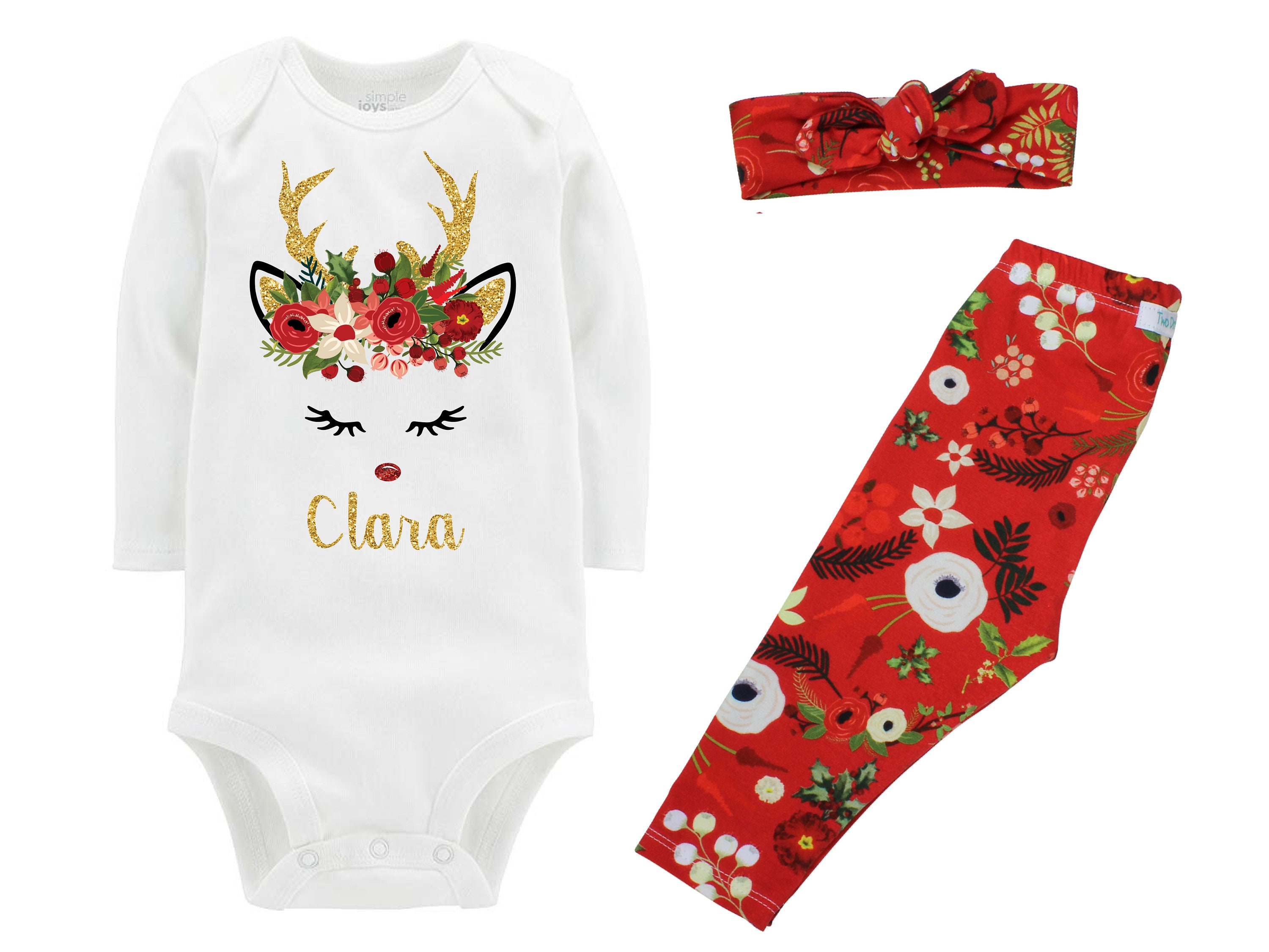 3e56fce8b Girl Christmas Reindeer Outfit Personalized Red Christmas Floral ...