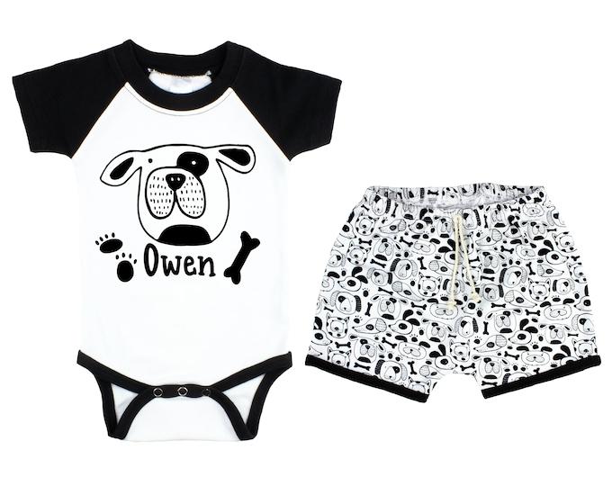 Boy Puppy Dog Raglan Outfit Personalized Outfit Dog Baby Onesie Summer Puppy Paw Print Shirt Bodysuit Onesie Boy Dog Puppy Unisex Shorts