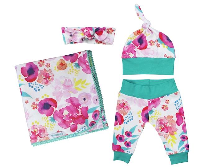 Watercolor Floral Newborn Swaddle Set Swaddle Blanket Top Knot Hat Knot Headband Custom Spoonflower Pom Pom Blanket Jersey Swaddle Blanket