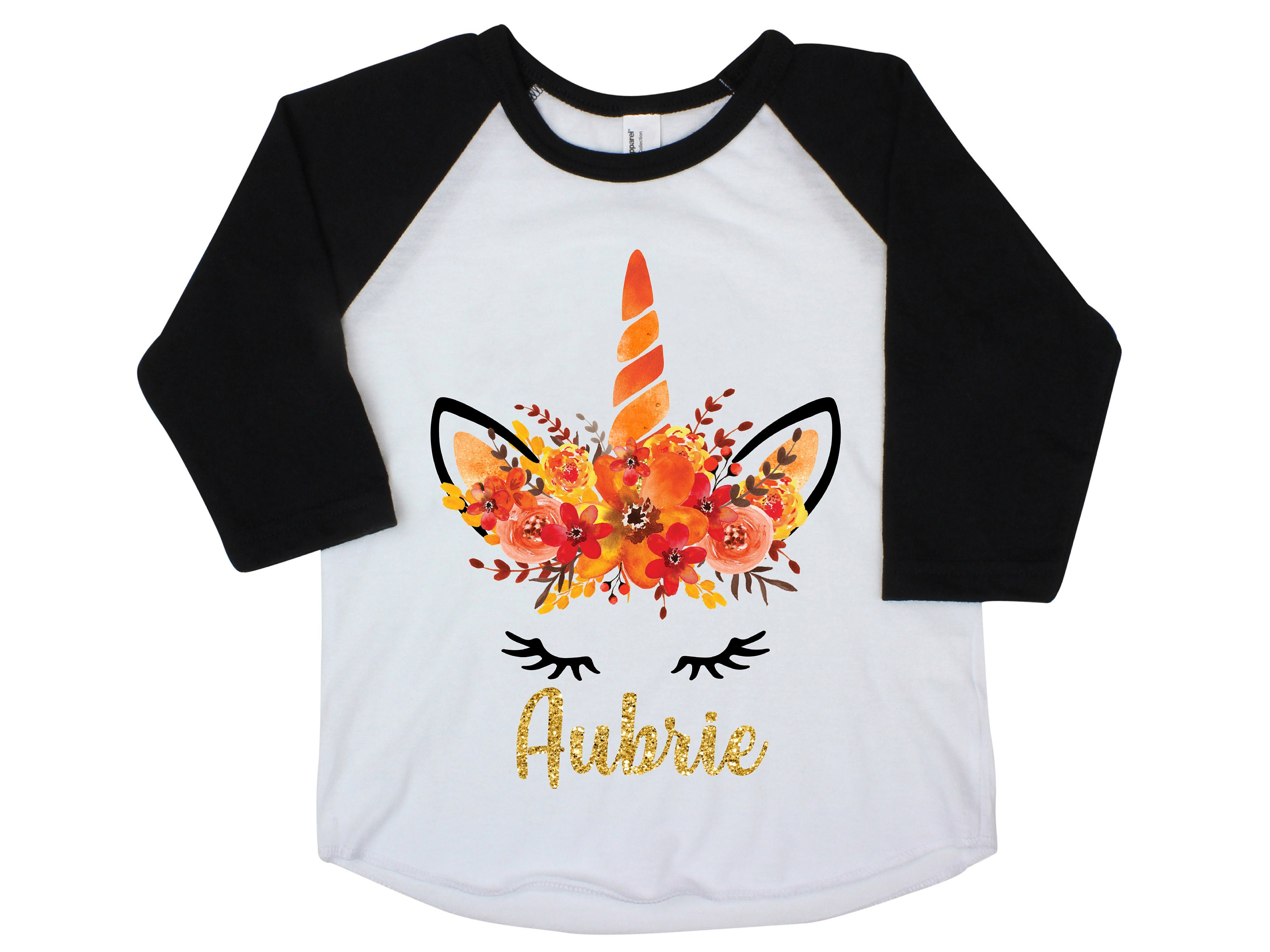 Fall Unicorn Face Orange Ruffle Raglan Shirt Personalized Flutter