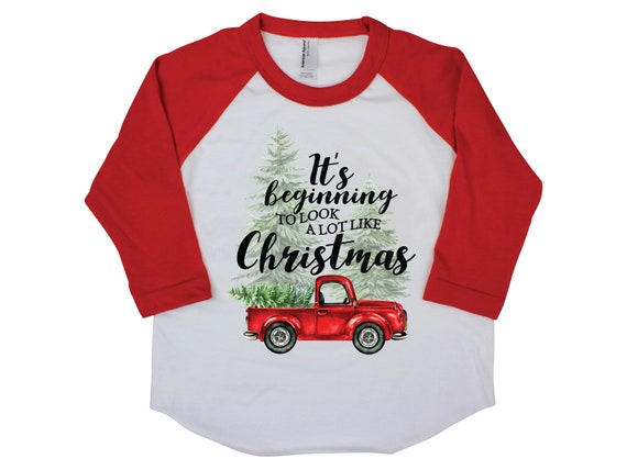 Boy Christmas Shirt Beginning to Look a lot Like Christmas Old Red Truck Boy Toddler Baby Youth Shirt Red Black Shirt Onesie Bodysuit