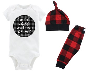 Boy For this Child We Have Prayed Coming Home Outfit Going Home Outfit Red Buffalo Plaid Pants Fall Baby Outfit Buffalo Check Infertility