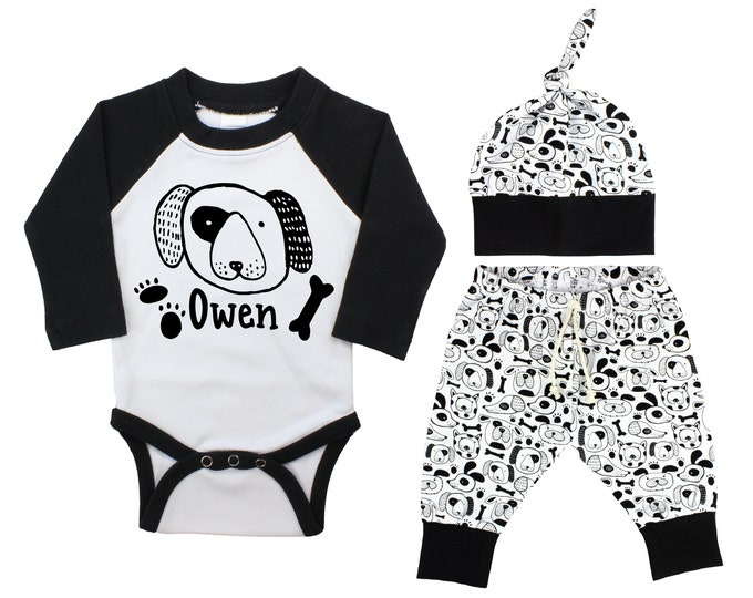 Boy Puppy Dog Raglan Outfit Personalized Outfit Dog Baby Onesie Top Knot Hat Puppy Paw Print Shirt Boy Dog Bone Puppy Unisex Pants Knot Hat