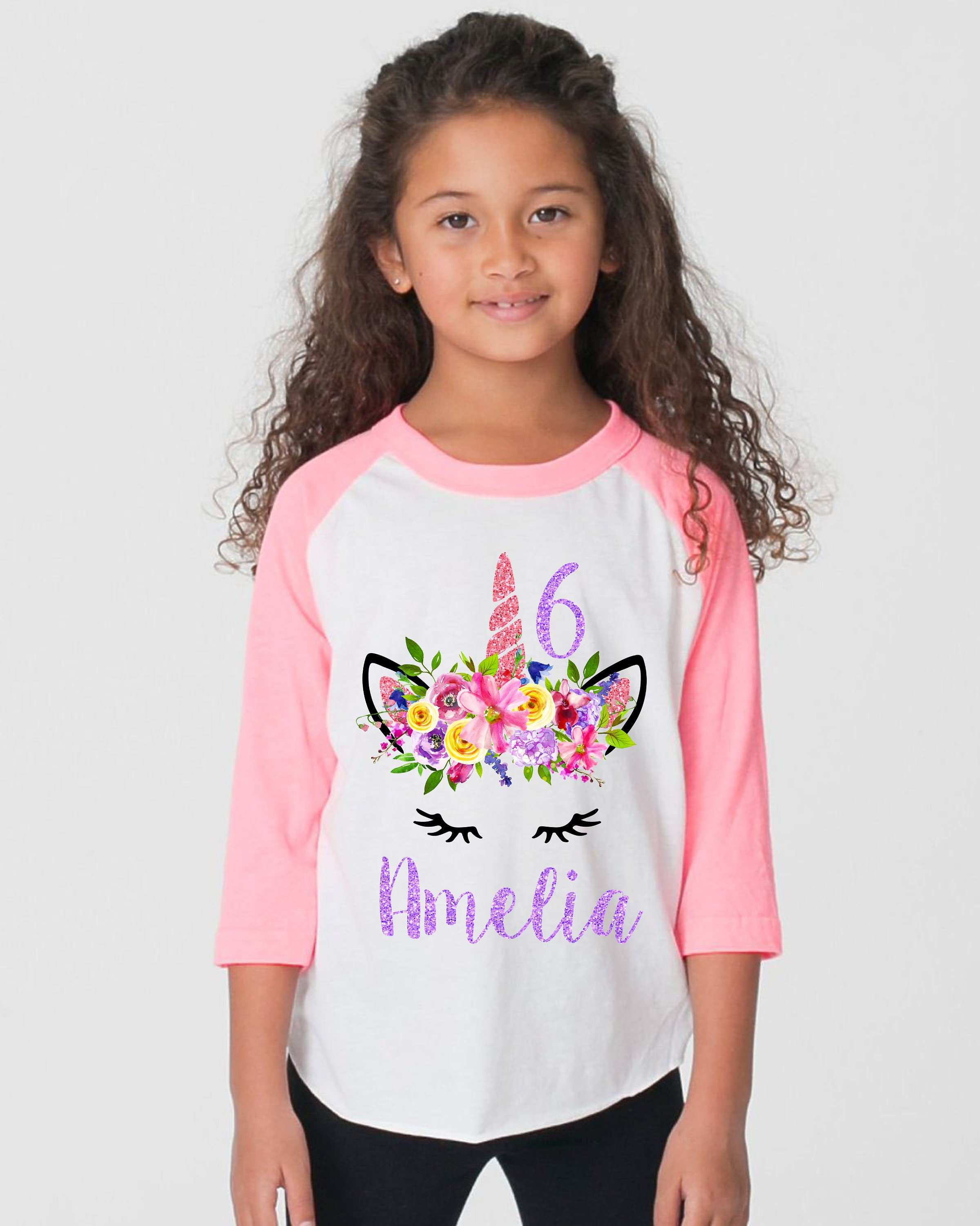 4b4379962 ... Personalized Name Watercolor Floral Unicorn Spring Unicorn Raglan Shirt  Pink Purple Bright Unicorn Flowers. gallery photo gallery photo