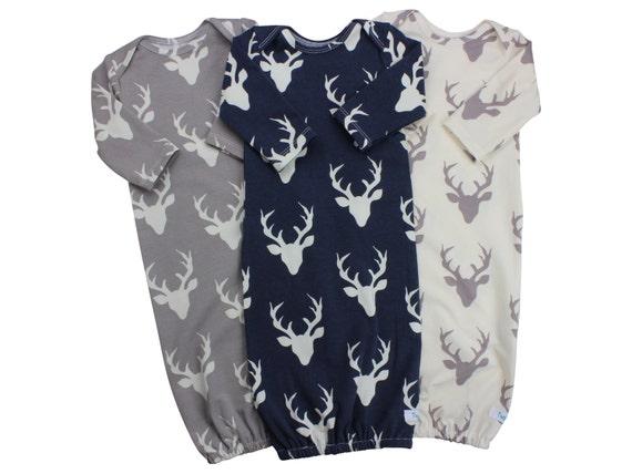 Buck Deer Baby Boy Gown Navy Deer Gown Gray Deer Boy Infant Gown Newborn Gown Going  Home Outfit Boy Clothing Boy Infant Outfit Clothing