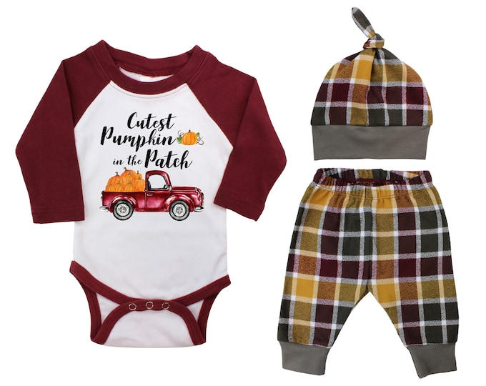 Boy Cutest Pumpkin In The Patch Personalized Outfit Fall Baby Raglan Outfit Fall Plaid Pants Pumpkins Old Truck Maroon Gray Baby Raglan