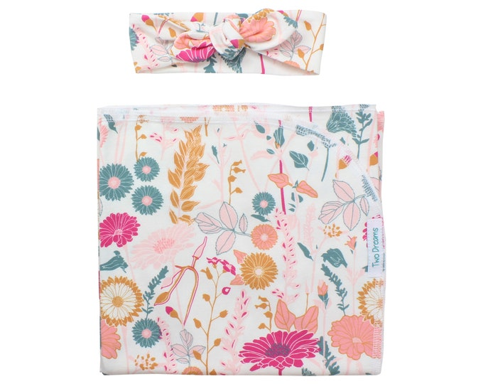 Floral Newborn Swaddle Set Blanket for a Girl Pink Coral Peach Top Knot Headband Jersey Knit Blanket Infant Gift Baby Shower Flower Field