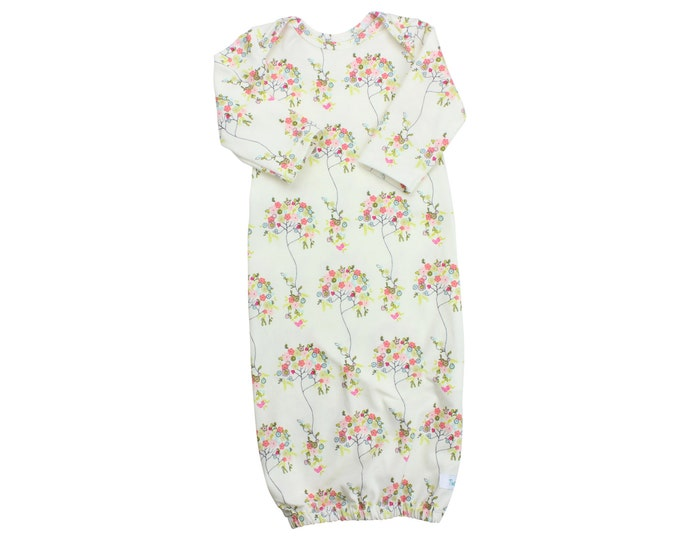 Floral Girl Newborn Baby Gown Cream Floral Newborn Gown Infant Baby Gown Going Home Outift Top Knot Hat Floral Hat Headband Baby Girl Outfit