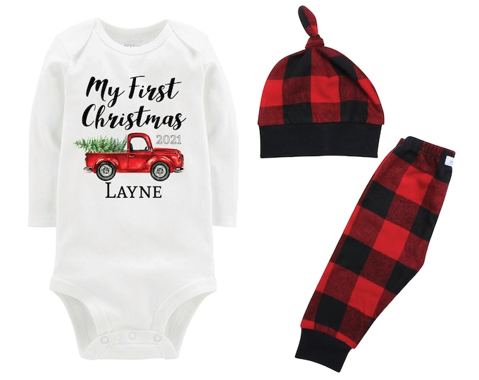 Boy My First Christmas 2021 Outfit Personalized Old Red Truck Christmas Tree Bodysuit Buffalo Flannel Pants Winter Boy Red Black Plaid Pants